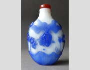 Blue Overlay Glass Snuffbottle